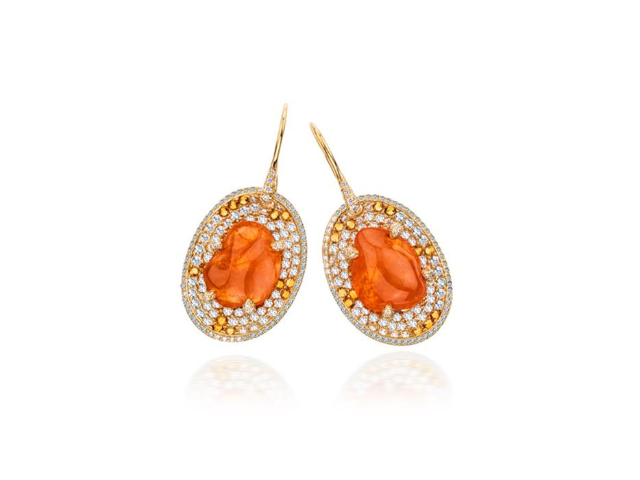 Orange Earrings - Mandarin Garnet - Amorphous Collection - Hammerman Jewels - High End Jewelry